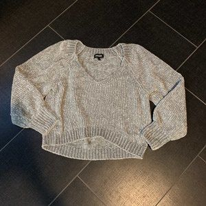 Express Light Gray Plush Chenille V-Neck Sweater